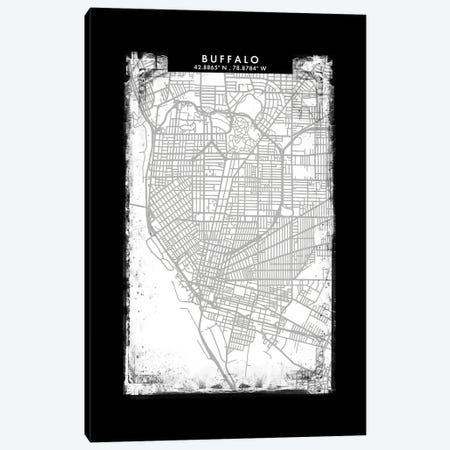 Buffalo City Map Black White Grey Style Canvas Print #WDA2029} by WallDecorAddict Canvas Artwork