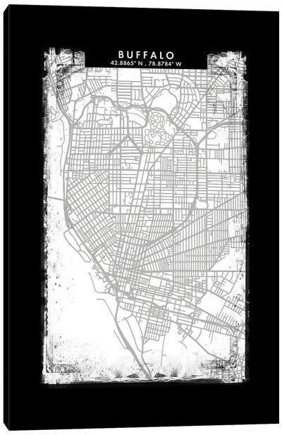 Buffalo City Map Black White Grey Style Canvas Art Print