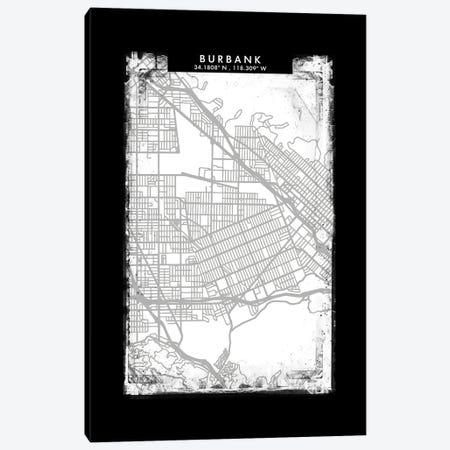 Burbank City Map Black White Grey Style Canvas Print #WDA2030} by WallDecorAddict Canvas Art Print