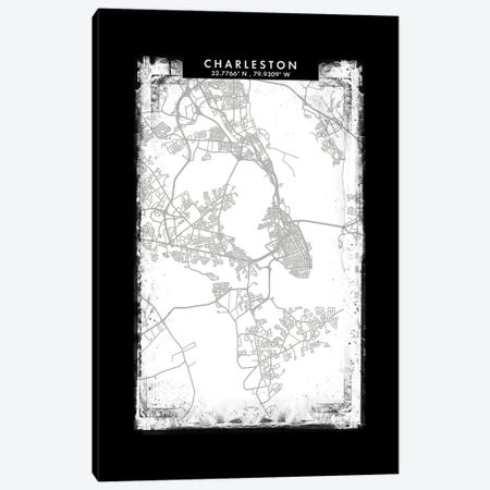 Charleston City Map Black White Grey Style Canvas Print #WDA2031} by WallDecorAddict Canvas Print
