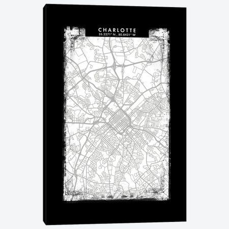 Charlotte City Map Black White Grey Style Canvas Print #WDA2032} by WallDecorAddict Canvas Art Print
