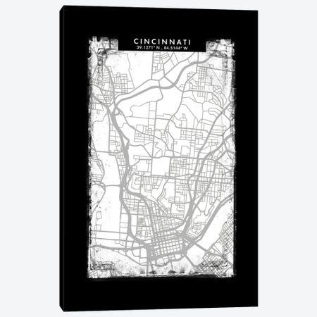 Cincinnati City Map Black White Grey Style Canvas Print #WDA2035} by WallDecorAddict Canvas Wall Art