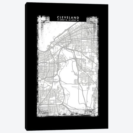 Cleveland City Map Black White Grey Style Canvas Print #WDA2036} by WallDecorAddict Canvas Art