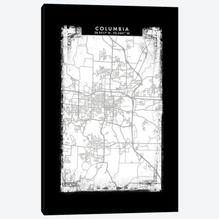 Columbia City Map Black White Grey Style Canvas Print #WDA2038} by WallDecorAddict Canvas Print