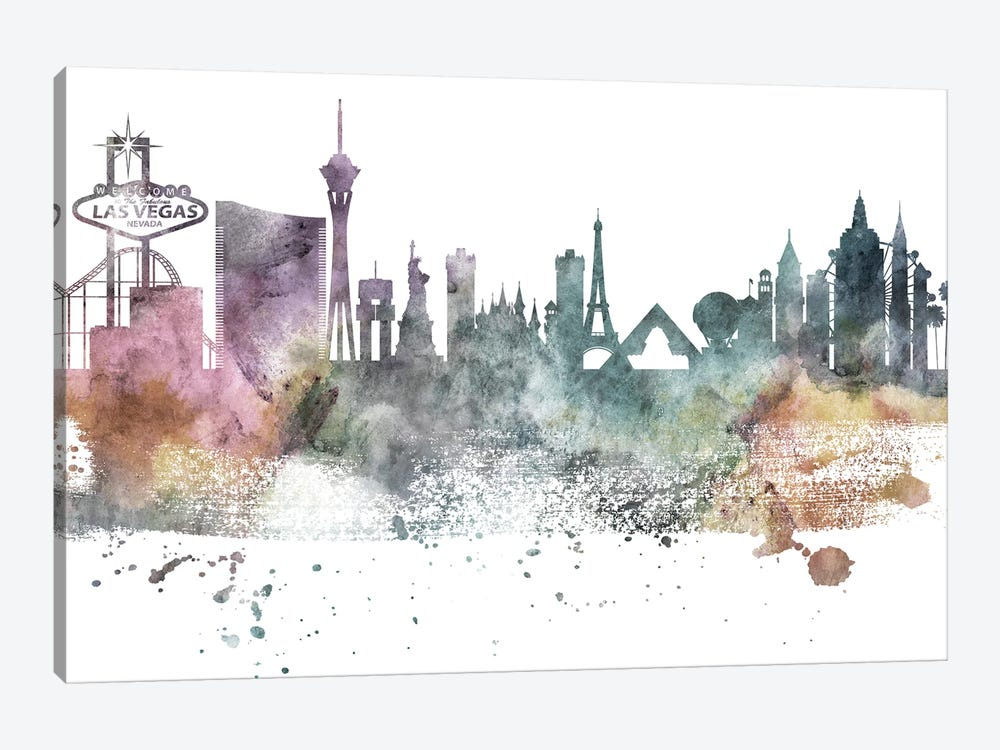 Las Vegas Pastel Skylines by WallDecorAddict 1-piece Canvas Print