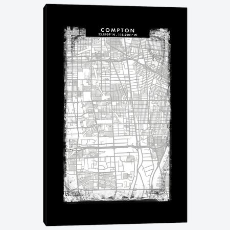 Compton City Map Black White Grey Style Canvas Print #WDA2040} by WallDecorAddict Canvas Wall Art