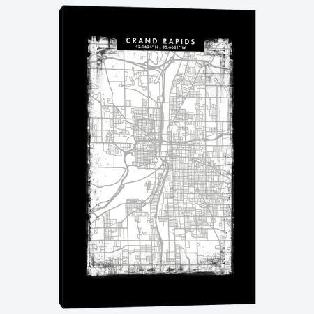 Grand Rapids City Map Black White Grey Style Canvas Print #WDA2042} by WallDecorAddict Canvas Artwork