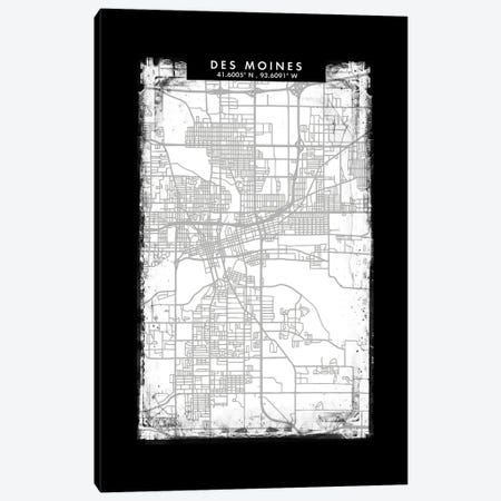 Des Moines City Map Black White Grey Style Canvas Print #WDA2044} by WallDecorAddict Art Print