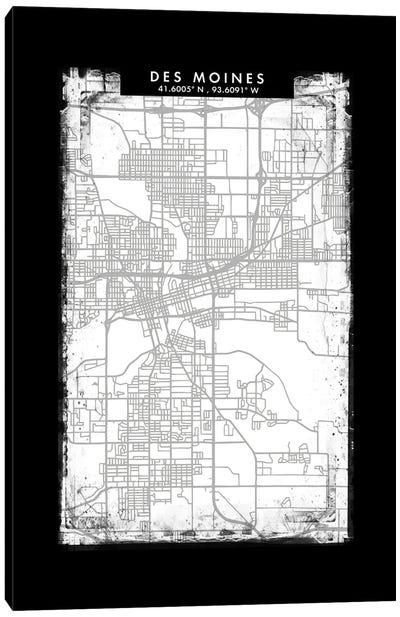 Des Moines City Map Black White Grey Style Canvas Art Print