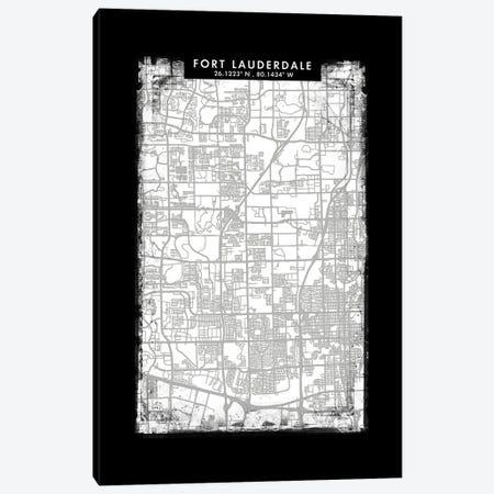 Fort Lauderdale City Map Black White Grey Style Canvas Print #WDA2046} by WallDecorAddict Canvas Art Print
