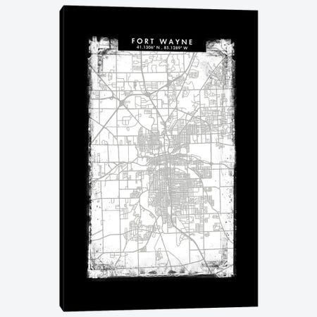 Fort Wayne City Map Black White Grey Style Canvas Print #WDA2047} by WallDecorAddict Canvas Art Print