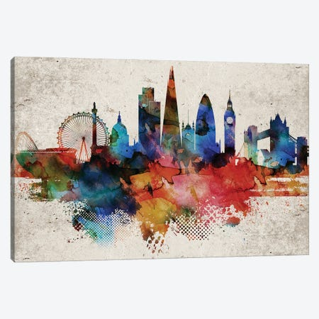 London Abstract Canvas Print #WDA204} by WallDecorAddict Canvas Artwork