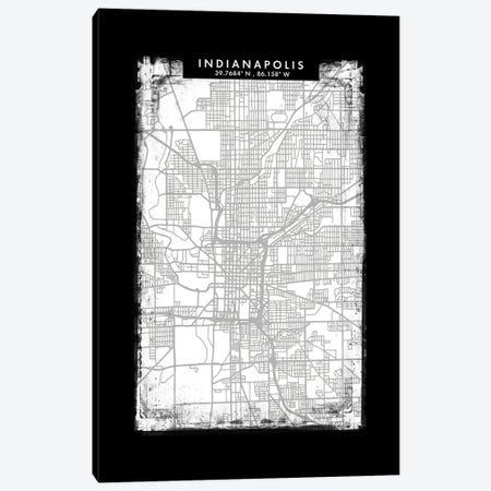 Indianapolis City Map Black White Grey Style Canvas Print #WDA2055} by WallDecorAddict Canvas Artwork
