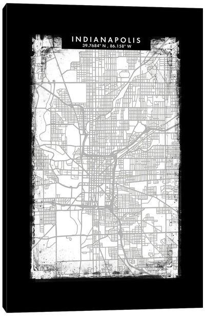 Indianapolis City Map Black White Grey Style Canvas Art Print
