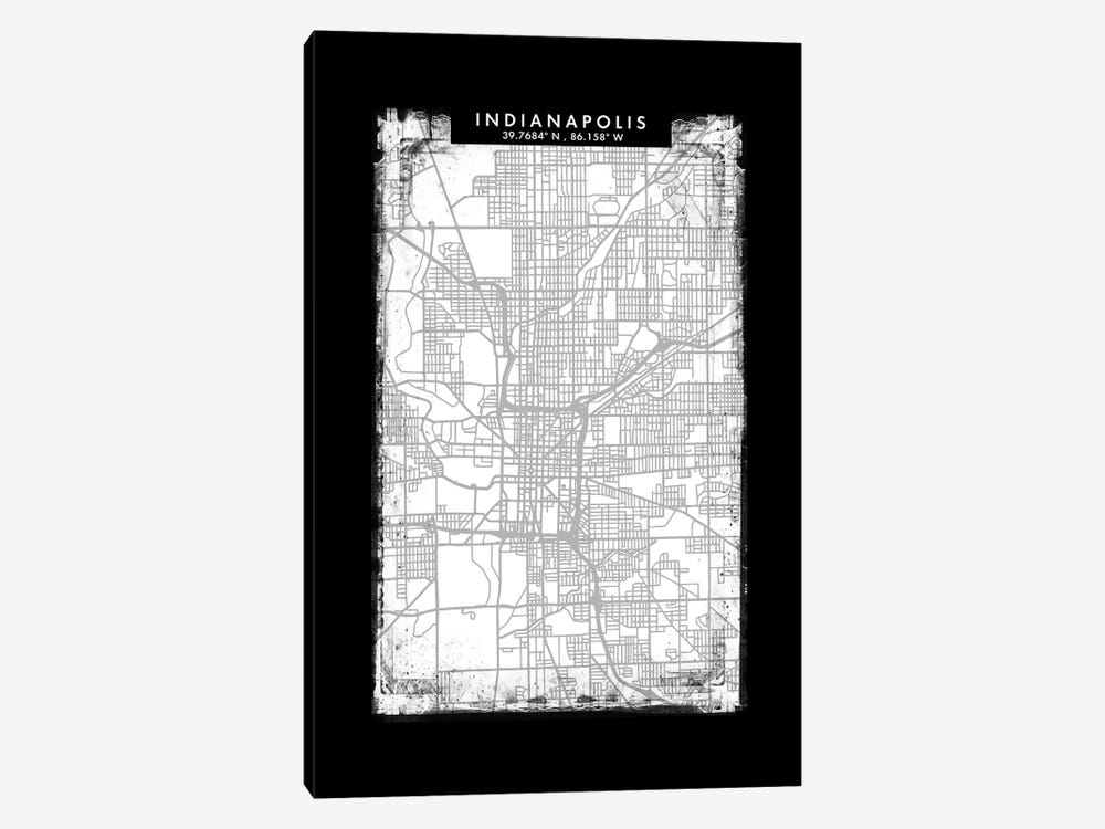 Indianapolis City Map Black White Grey Style by WallDecorAddict 1-piece Canvas Art