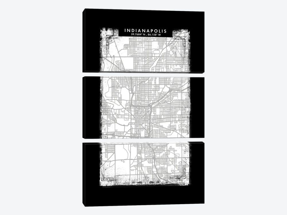 Indianapolis City Map Black White Grey Style by WallDecorAddict 3-piece Canvas Artwork