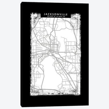Jacksonville City Map Black White Grey Style Canvas Print #WDA2056} by WallDecorAddict Canvas Artwork