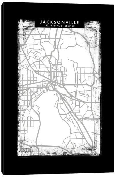 Jacksonville City Map Black White Grey Style Canvas Art Print