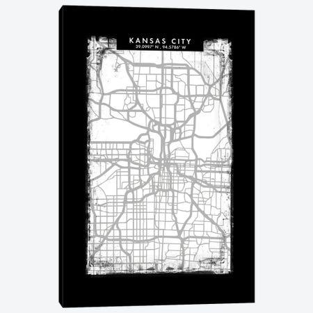 Kansas City Map Black White Grey Style Canvas Print #WDA2058} by WallDecorAddict Canvas Print