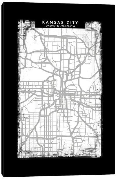 Kansas City Map Black White Grey Style Canvas Art Print