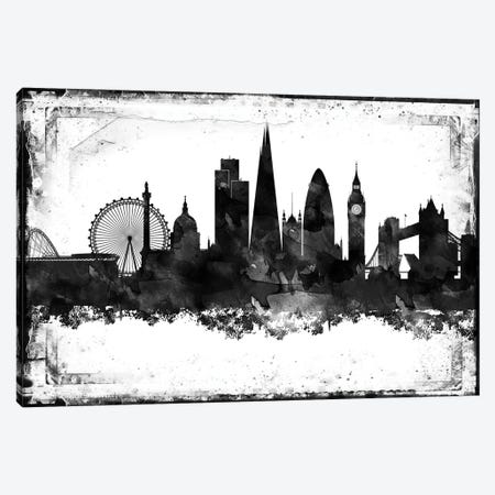 London Black And White Framed Skylines Canvas Print #WDA205} by WallDecorAddict Canvas Wall Art