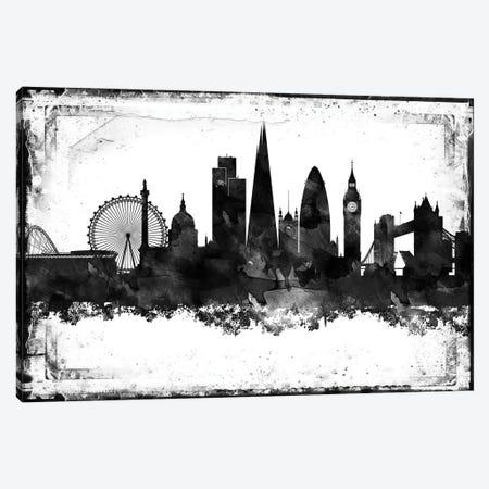 London Black And White Framed Skylines Canvas Print #WDA205} by WallDecorAddict Canvas Wall Art