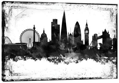London Black And White Framed Skylines Canvas Art Print