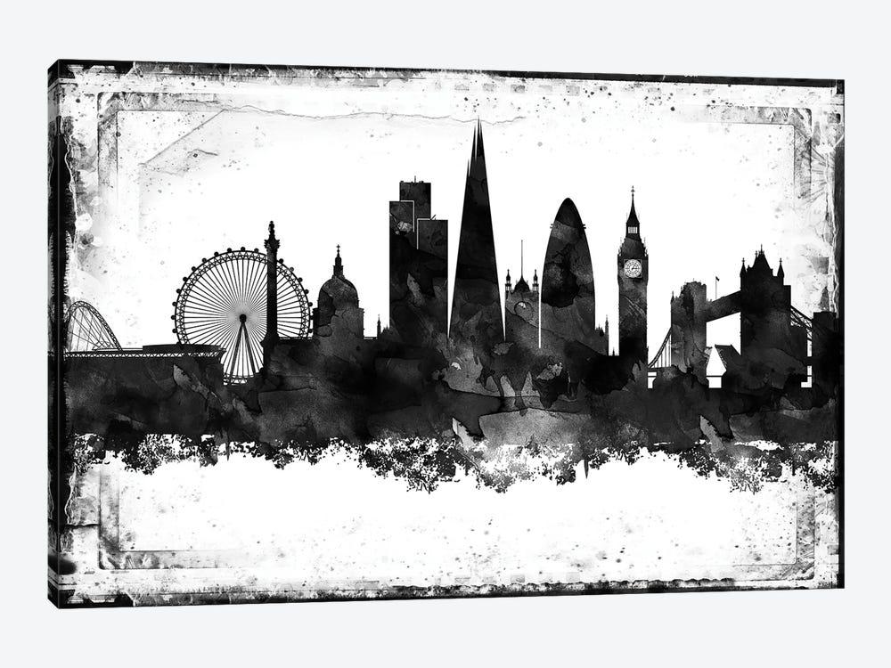 London Black And White Framed Skylines Canva Walldecoraddict Icanvas