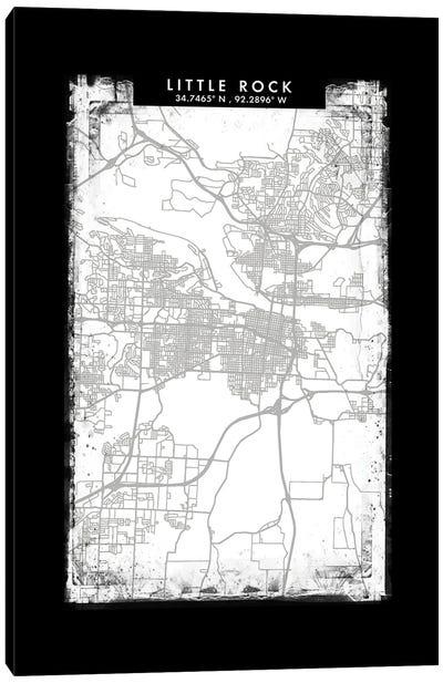 Little Rock City Map Black White Grey Style Canvas Art Print