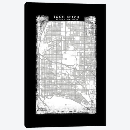 Long Beach City Map Black White Grey Style Canvas Print #WDA2065} by WallDecorAddict Canvas Art Print
