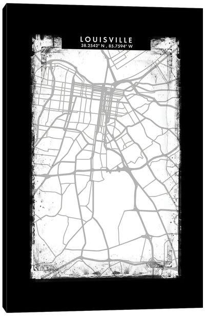 Louisville City Map Black White Grey Style Canvas Art Print