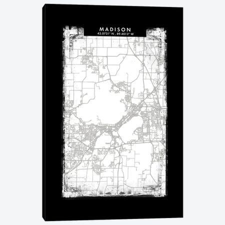 Madison City Map Black White Grey Style Canvas Print #WDA2067} by WallDecorAddict Canvas Art Print