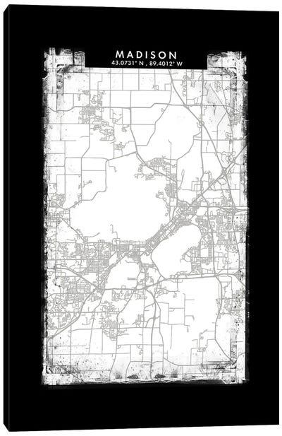 Madison City Map Black White Grey Style Canvas Art Print