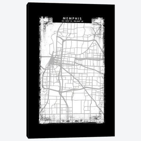 Memphis City Map Black White Grey Style Canvas Print #WDA2068} by WallDecorAddict Canvas Art