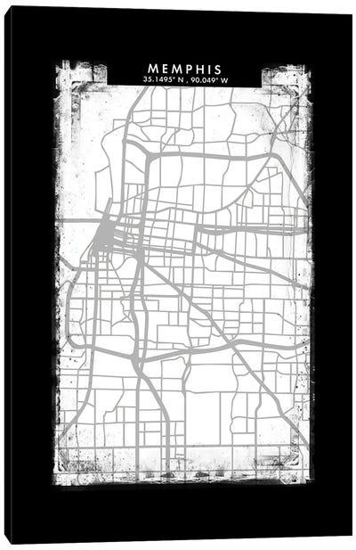 Memphis City Map Black White Grey Style Canvas Art Print