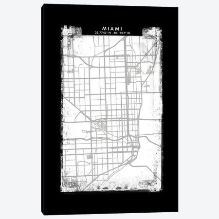 Miami City Map Black White Grey Style Canvas Print #WDA2069} by WallDecorAddict Canvas Artwork