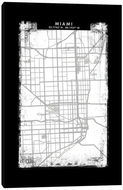 Miami City Map Black White Grey Style Canvas Art Print