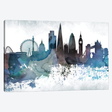London Bluish Skylines Canvas Print #WDA206} by WallDecorAddict Canvas Wall Art