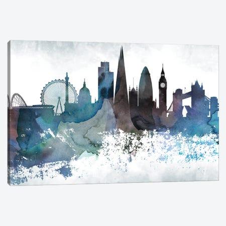 London Bluish Skylines Canvas Print #WDA206} by WallDecorAddict Canvas Wall Art