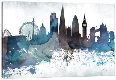 London Bluish Skylines Canvas Art Print