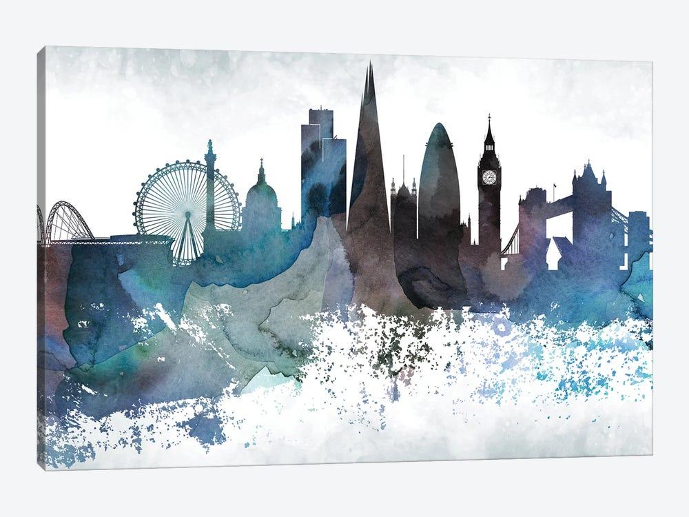 London Bluish Skylines by WallDecorAddict 1-piece Canvas Wall Art