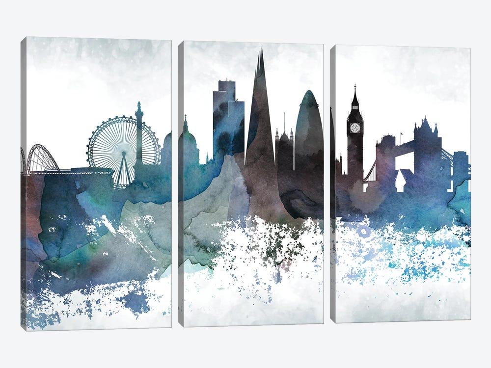 London Bluish Skylines by WallDecorAddict 3-piece Canvas Artwork