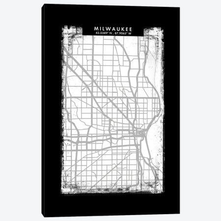 Milwaukee City Map Black White Grey Style Canvas Print #WDA2070} by WallDecorAddict Canvas Art Print