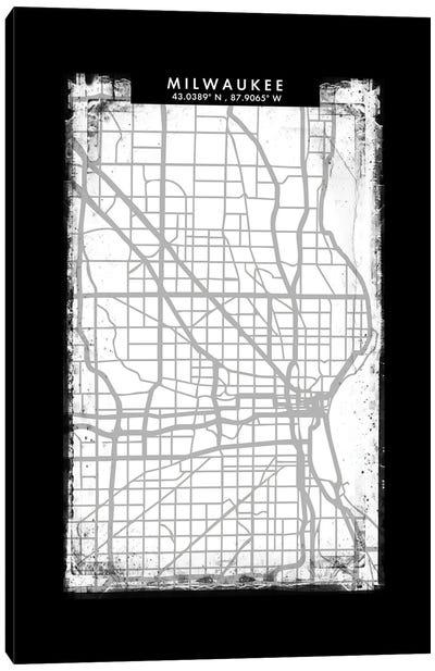 Milwaukee City Map Black White Grey Style Canvas Art Print