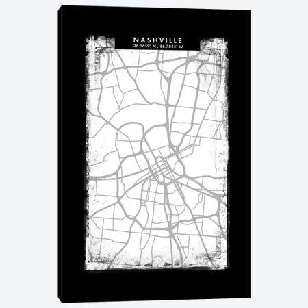 Nashville City Map Black White Grey Style Canvas Print #WDA2073} by WallDecorAddict Canvas Art Print