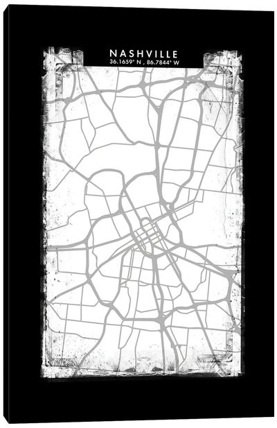 Nashville City Map Black White Grey Style Canvas Art Print