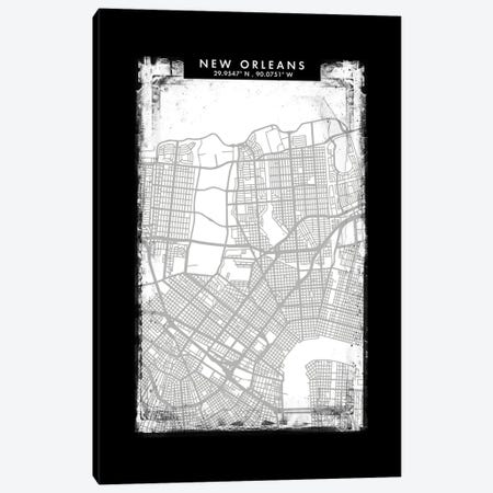 New Orleans City Map Black White Grey Style Canvas Print #WDA2074} by WallDecorAddict Canvas Wall Art
