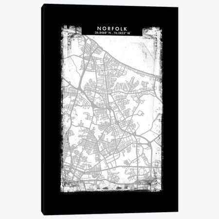 Norfolk City Map Black White Grey Style Canvas Print #WDA2076} by WallDecorAddict Canvas Art