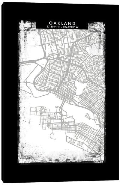 Oakland City Map Black White Grey Style Canvas Art Print