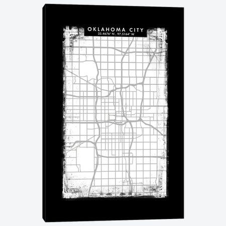 Oklahoma City Map Black White Grey Style Canvas Print #WDA2078} by WallDecorAddict Canvas Art Print